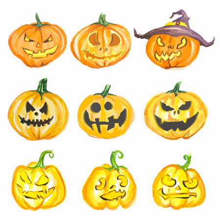 Watercolor halloween pumpkin set. Pumpkins with scary faces. Fall or autumn holiday and harvest celebration.