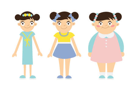 Illustrazione per From thin to fat kid. Children obesity and anorexia. Funny smiling cartoon girls on white background. Girl getting fat, gaining weight, getting thin, loosing weight. - Immagini Royalty Free