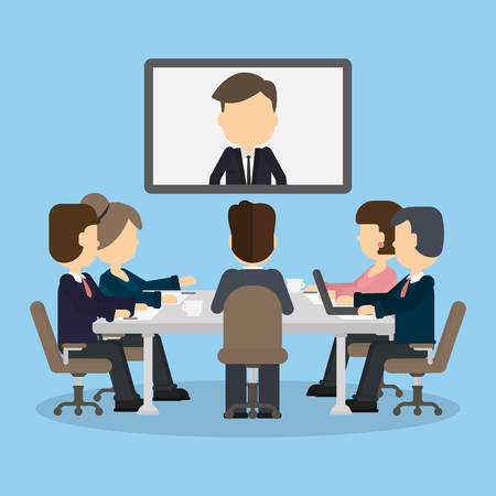 Illustration pour Business video conference in the room with people. Man on the screen. Discussion and communication. Video consulting. - image libre de droit