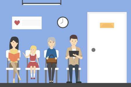 Illustration pour Waiting room in hospital with patients. Room with seats and healthcare poster. - image libre de droit