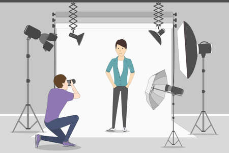 Illustration pour Male model in photo studio. White background with lights and cameras. Photographer making photos. Fashion clothes. - image libre de droit