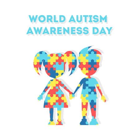 Ilustración de World Autism Awareness Day. Holiday or event for people with autism and other deseases. Boy and girl. - Imagen libre de derechos