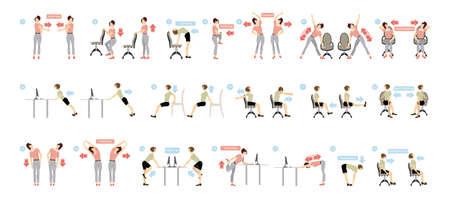 Illustration pour Sport exercises for office. Office yoga for tired employees with chair and table. - image libre de droit