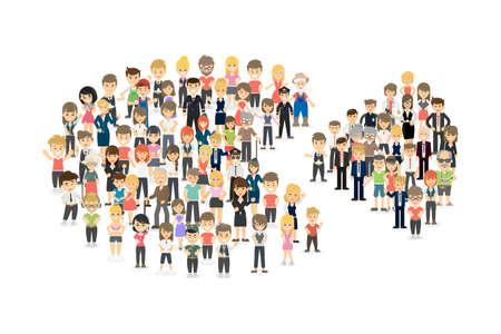 Ilustración de Pie chart with people. - Imagen libre de derechos