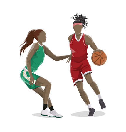Ilustración de Woman plays basketball. Isolated caucasian character on white background in red outfit. - Imagen libre de derechos