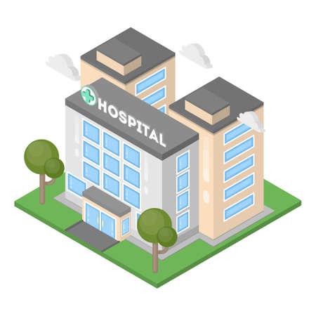 Illustration pour Isometric hospital building. - image libre de droit