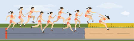 Illustration for Triple jump moves illustration. Woman jumps in uniform. - Royalty Free Image