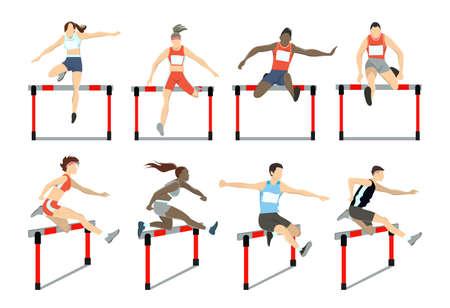Ilustración de Running with barrier. - Imagen libre de derechos