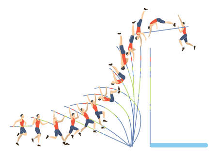 Illustration for Jumping with pole. - Royalty Free Image