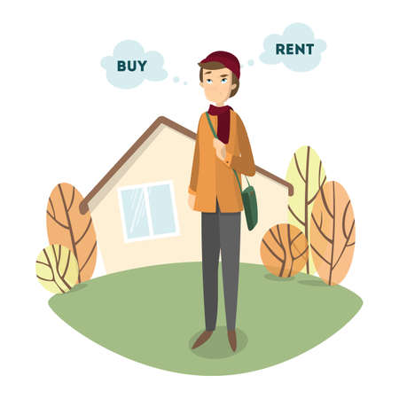 Illustration pour Buy or rent. Handsome confused man decides to buy or to rent the house. - image libre de droit