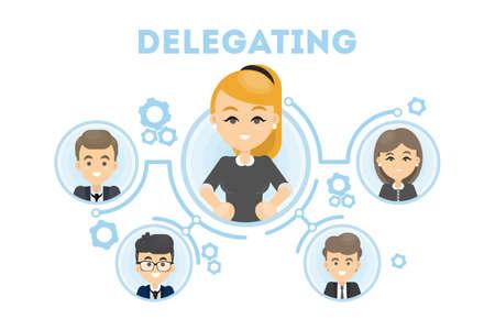 Illustration for Delegating business illustration. - Royalty Free Image