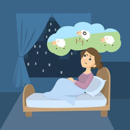 Ilustración de Woman with insomnia. Trying to count sheep in the room. - Imagen libre de derechos