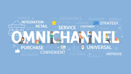Illustration for Omnichannel concept illustration, Idea of service, strategy and integration. - Royalty Free Image