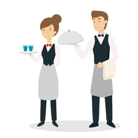 Ilustración de Isolated waiter couple. - Imagen libre de derechos