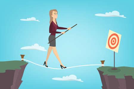 Illustration pour Businesswoman tightrope walker. Idea of risky and courage business. - image libre de droit
