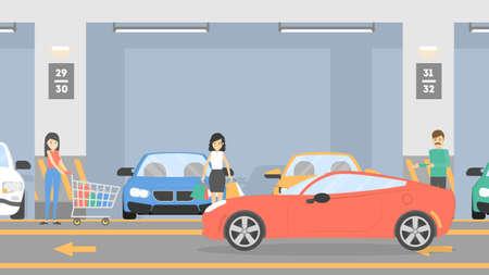 Illustration pour Underground parking lot. - image libre de droit