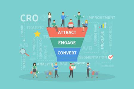 Ilustración de CRO concept illustration. - Imagen libre de derechos