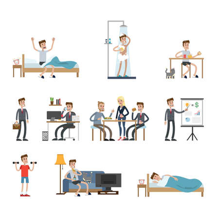 Illustration for Mans daily routine. - Royalty Free Image