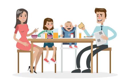 Illustration pour Parents and kids eating together. - image libre de droit