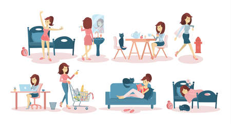 Ilustración de Woman's daily routine at home and at work. - Imagen libre de derechos