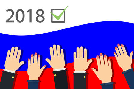 Illustration pour 2018 election campaign in Russia. People's hands on flag. - image libre de droit