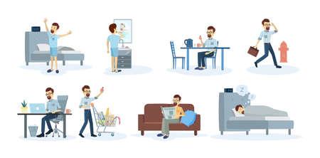 Ilustración de Man's daily routine at home and at work. - Imagen libre de derechos