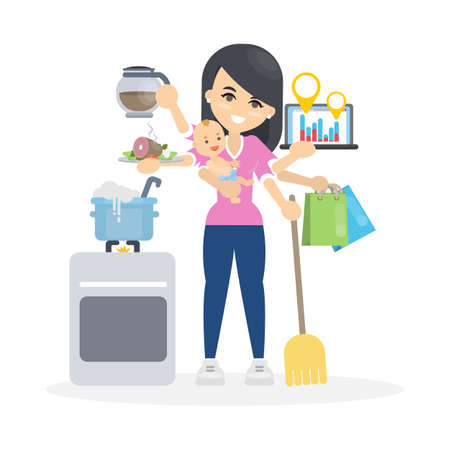 Ilustración de Isolated multitasking woman with six hands. Baby and shopping, business and food. - Imagen libre de derechos