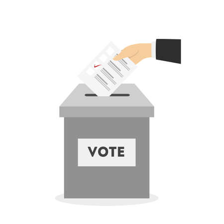 Illustration pour Bulletin in ballot box with tick mark. - image libre de droit