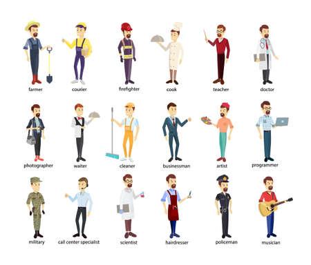 Illustration pour Profession men set. Police and firefighters, businessmen and doctors. - image libre de droit
