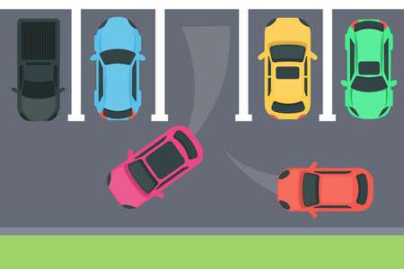 Illustration pour Parking top view illustration. - image libre de droit
