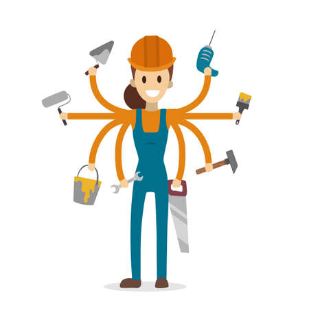 Illustrazione per Multitasking construction worker with six hands on white. - Immagini Royalty Free