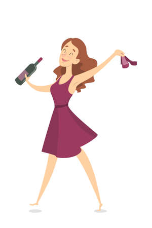 Illustration pour Isolated drunk woman having fun with wine bottle. - image libre de droit