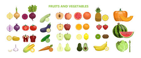 Foto per Fruits and vegetables illustration. - Immagine Royalty Free