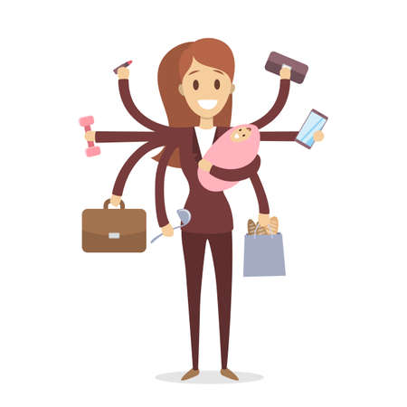 Ilustración de Multi tasking woman illustration. - Imagen libre de derechos