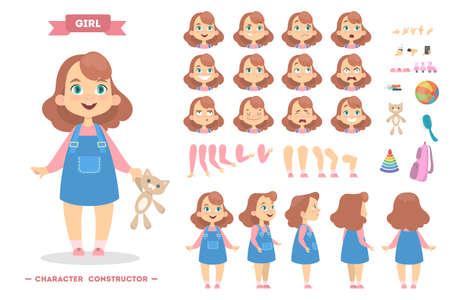 Illustration pour Girl character set. - image libre de droit
