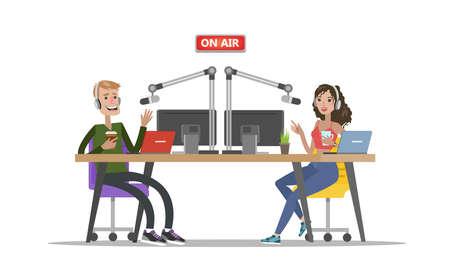 Illustration pour Radio djs on air. - image libre de droit