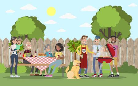 Photo pour Family on BBQ vector illustration. - image libre de droit