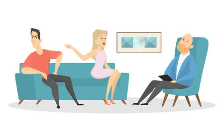 Illustration pour Psychologists with couple patients on white background. - image libre de droit