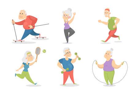Ilustración de Old people doing sport set. - Imagen libre de derechos
