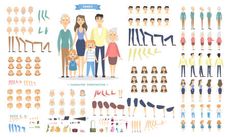 Ilustración de Family characters set with poses and emotions. - Imagen libre de derechos