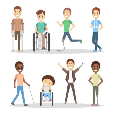 Illustration pour Disabled people set. - image libre de droit