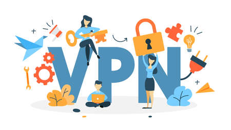 Illustration pour VPN concept. Using internet via virtual private network. Modern technology and virtual life. Idea of privacy in the internet. Isolated flat vector illustration - image libre de droit
