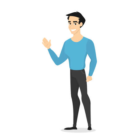 Ilustración de Young handsome smiling male character standing in the blue sweater and black jeans, waving his hand. Front view of a man in casual clothes saying hello. Isolated vector illustration in cartoon style - Imagen libre de derechos