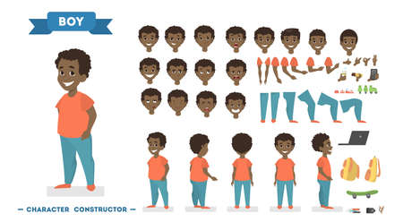 Illustration pour Cute african american boy character in orange t-shirt and blue pants set for animation with various views, hairstyles, face emotions, poses and gestures. Isolated vector illustration in cartoon style - image libre de droit