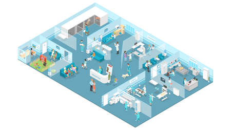 Illustration pour Veterinary clinic interior with reception, waiting hall, examination and operating rooms. Animal treatment. Doctors and sick pets. Isolated isometric vector illustration - image libre de droit