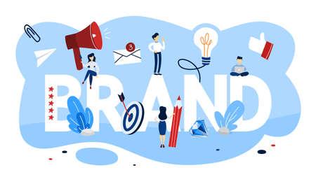 Illustration pour Brand concept. Unique design of a company. Brand recognition as a part of marketing strategy. Isolated vector flat illustration - image libre de droit