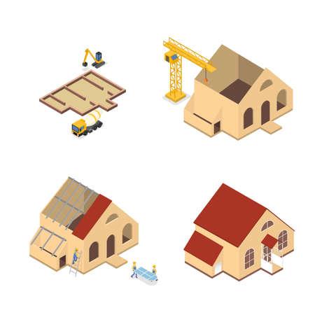 Ilustración de Workers building a large wooden house illustration - Imagen libre de derechos