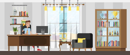 Illustrazione per Man sitting at the desk and working or playing on the computer and drinking beer at home. Living room with bookshelf and armchair. - Immagini Royalty Free