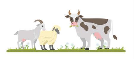 Ilustración de Farm animals graze on the field. Cute goat, sheep and cow chewing grass. Isolated vector flat illustration - Imagen libre de derechos