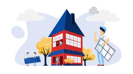 Ilustración de Workers building a large red house illustration - Imagen libre de derechos